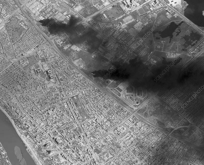 Baghdad fires in 2003, satellite image