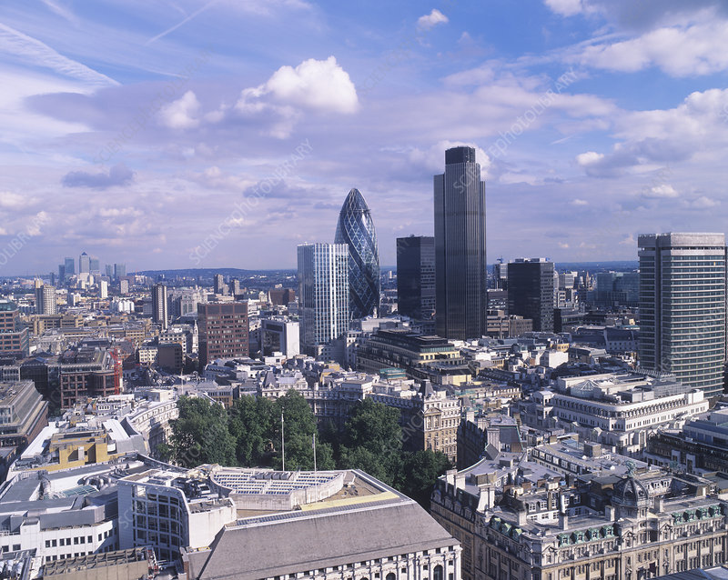30 St Mary Axe and Tower 42, London, UK