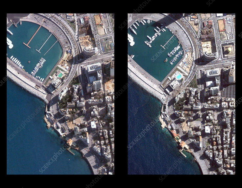West Beirut before and after explosion