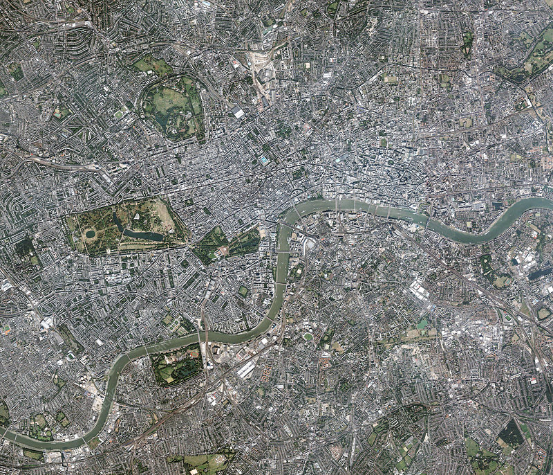 Central London, satellite image