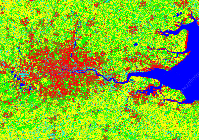 London, coloured satellite image