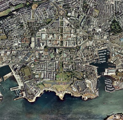 Plymouth, UK, aerial image
