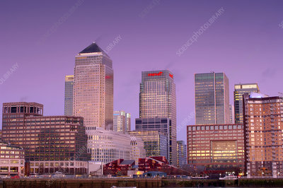 Canary Wharf at dusk