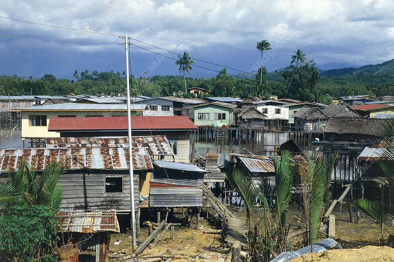 Slums in southern Brunei