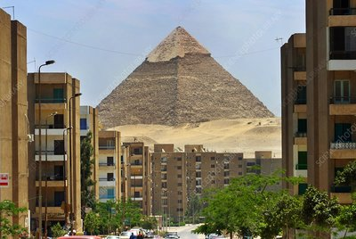 Egyptian pyramid with modern city