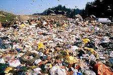 View of rubbish at a landfill site