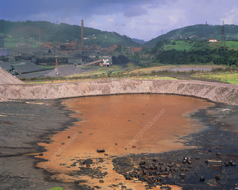 Slag-polluted pool near a steelworks in Spain