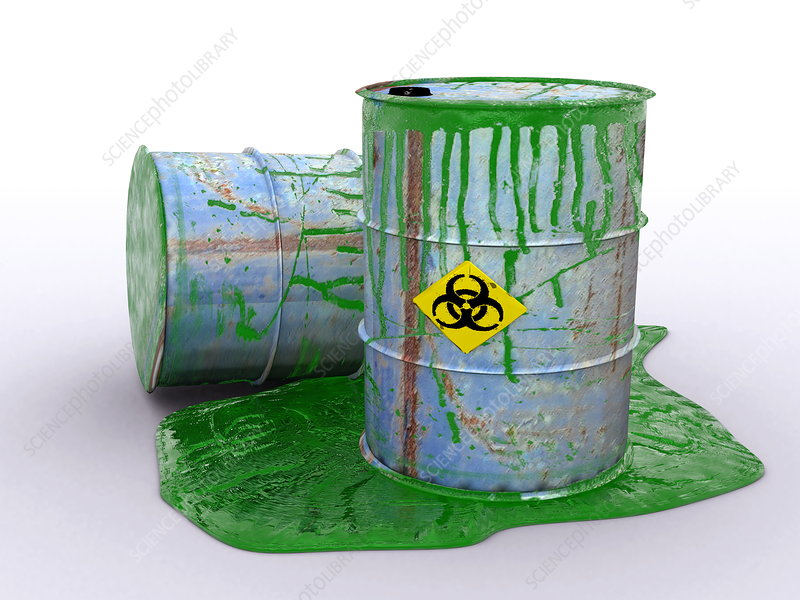 Drum leaking toxic waste, artwork