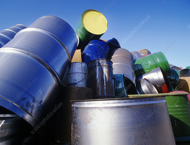 Dumped oil containers