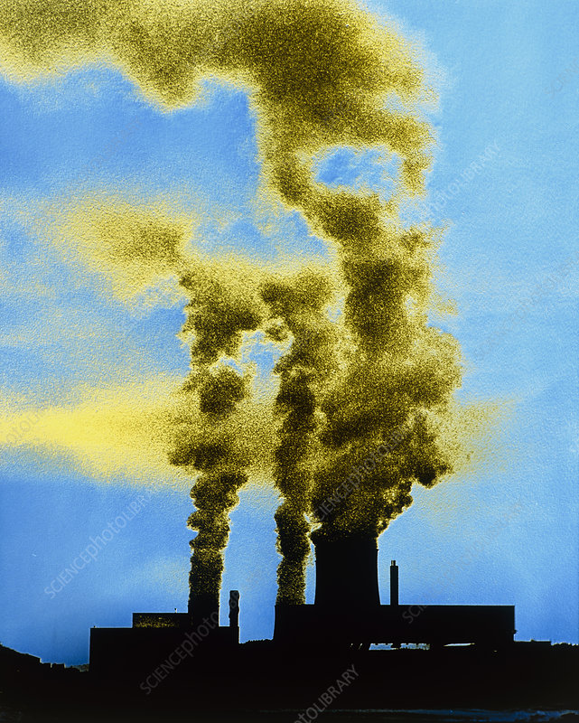 False-colour photograph of industrial pollution