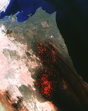 Landsat image of Kuwait oil fields during fires