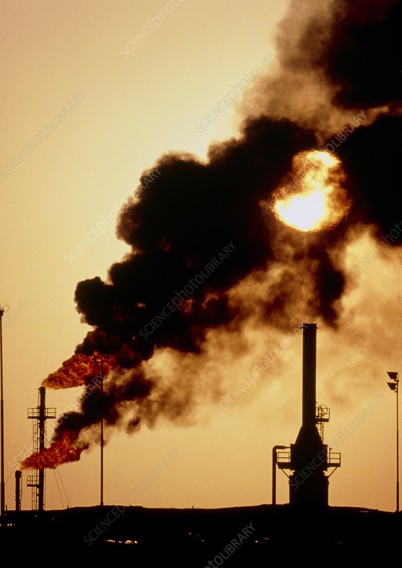 Air pollution from oil gathering station, Oman