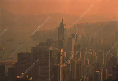 Smog over Hong Kong, China