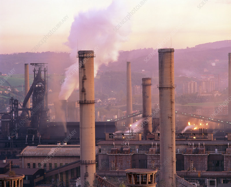 Smog-producing steelworks at Aviles, Spain