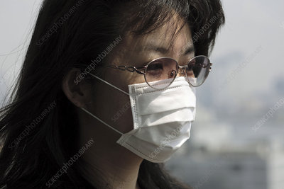 Woman wearing a face mask