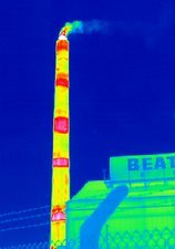 Chimney at a glass factory, thermogram