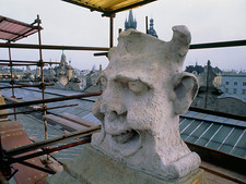 Eroded sculptures on Cloth Hall roof, Cracow