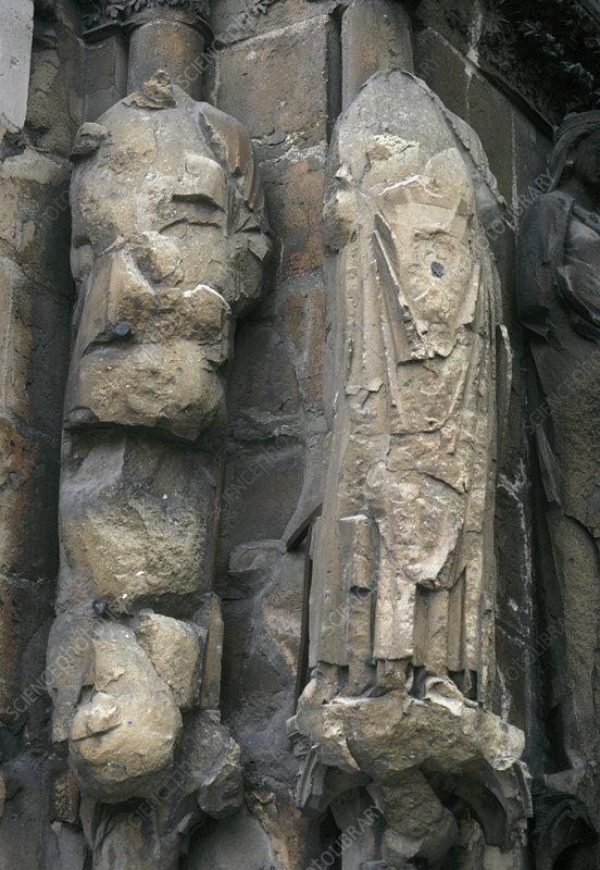 Damaged statues due to acid rain