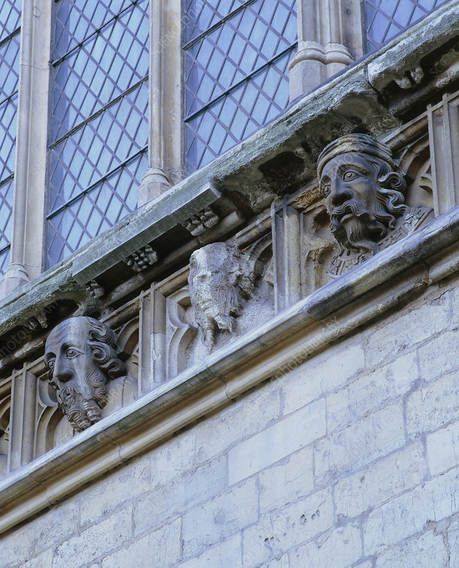 Acid rain damage to stonework, York Minster