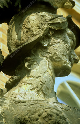 'Acid weathering of statue, Germany'
