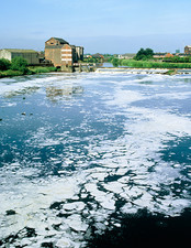 Polluted river, Castleford, England