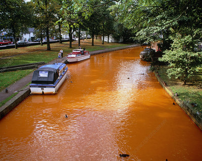 Rusting canal, polluted by iron oxide leachate