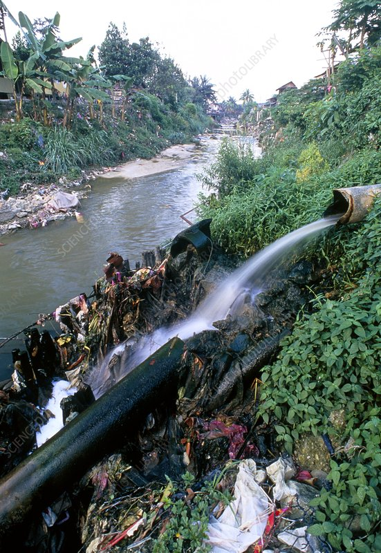 Sewage outflow pipe polluting a river in Malaysia