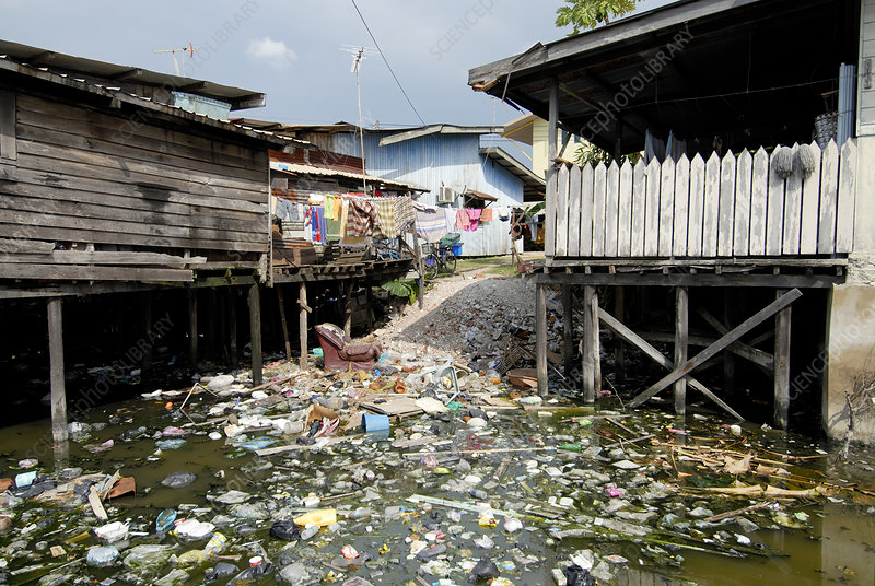Polluted river by dwellings, Malaysia