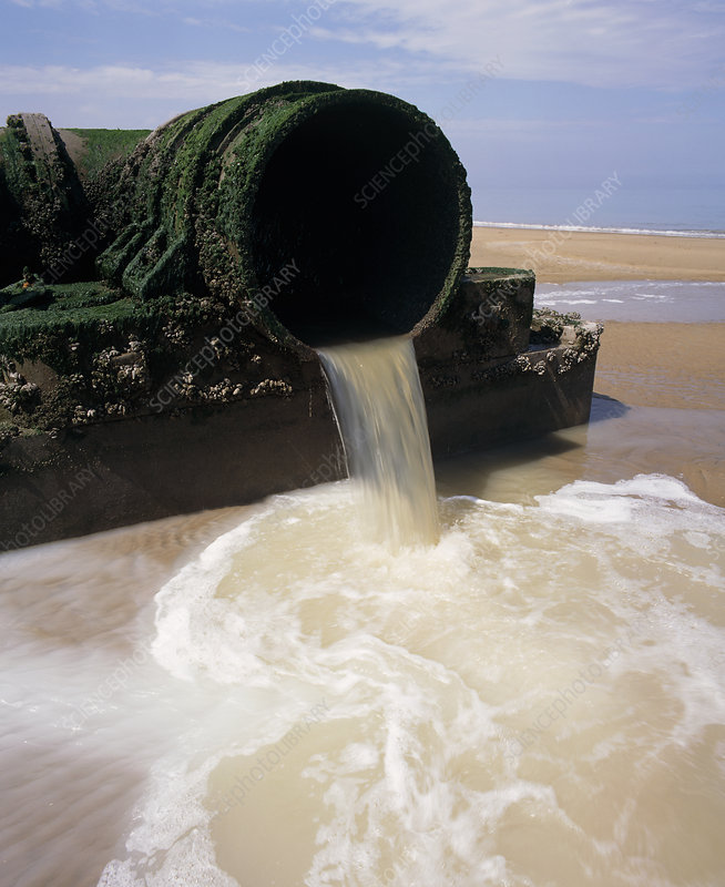 Sewage outlet pipe discharging onto beach