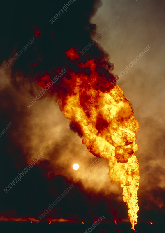 Flames from burning oil wells, Kuwait