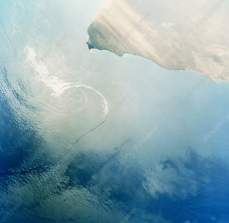 Oil slick off Oman seen from Shuttle STS-45