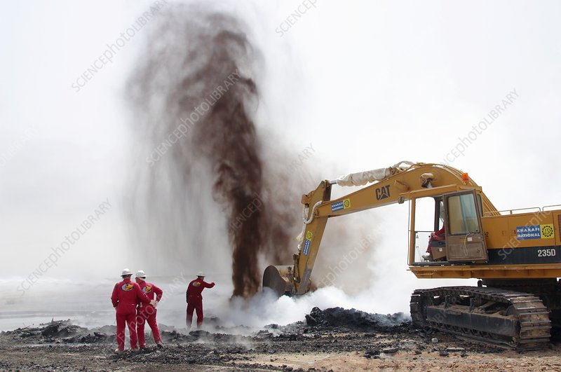 Extinguished oil well fire