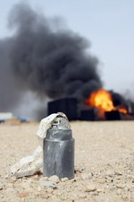 Bomb with oil well fire