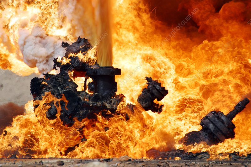 Oil well fire, Iraq, 2003