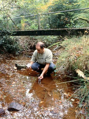 Analysing a stream for acidity or low flow-rate