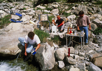 Testing the water of a river for radiation levels