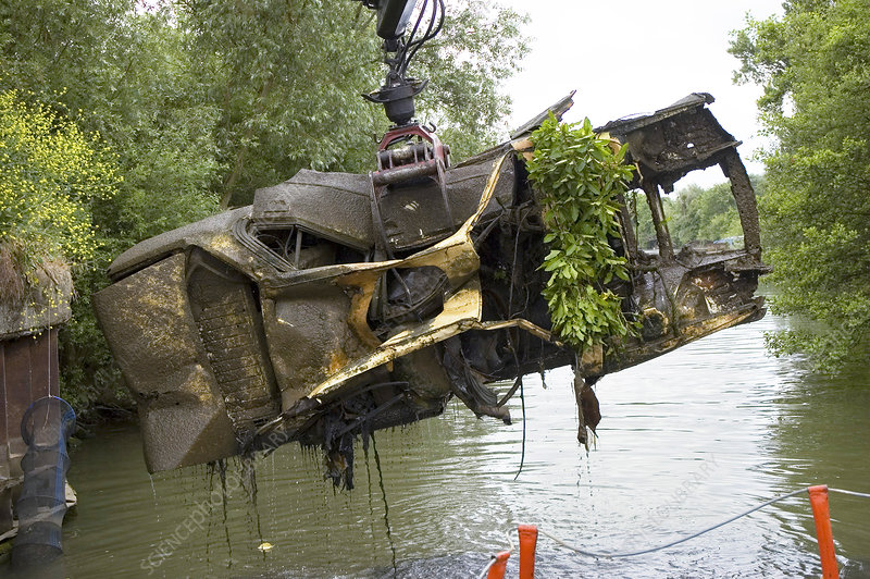 River pollution clean-up, scrapped car