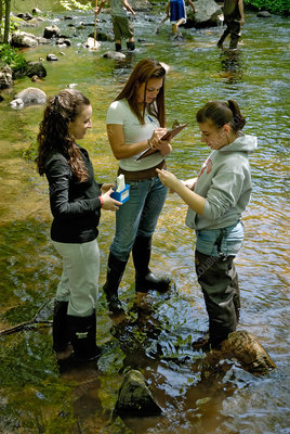 Teenagers testing water quality