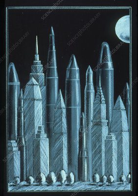 Abstract artwork of nuclear missiles in America