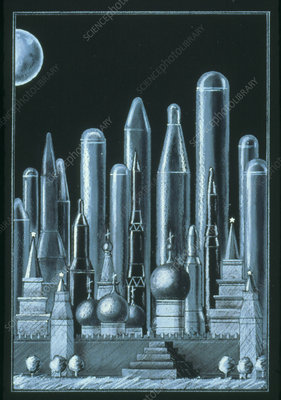 Abstract artwork of nuclear missiles in Russia