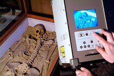 Archaeology research, skeleton scanning