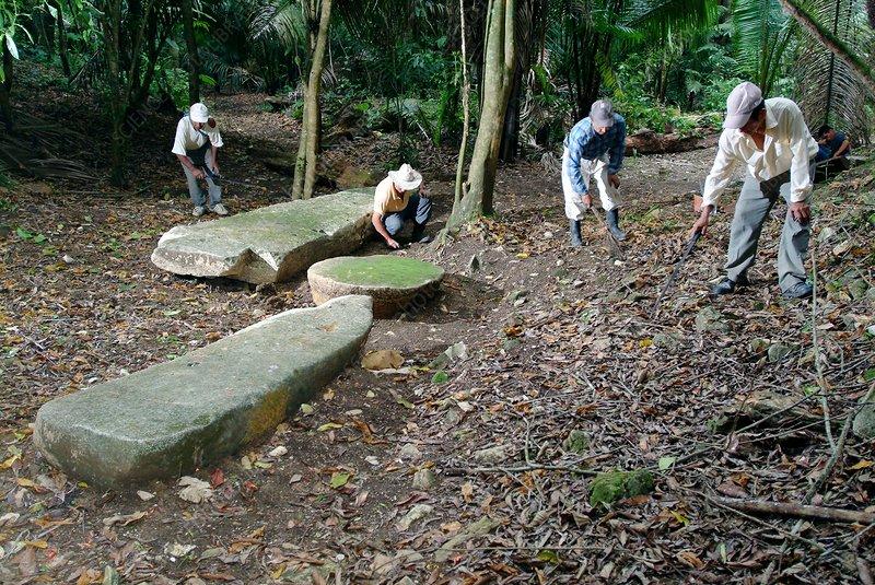 Excavating a Mayan ruin