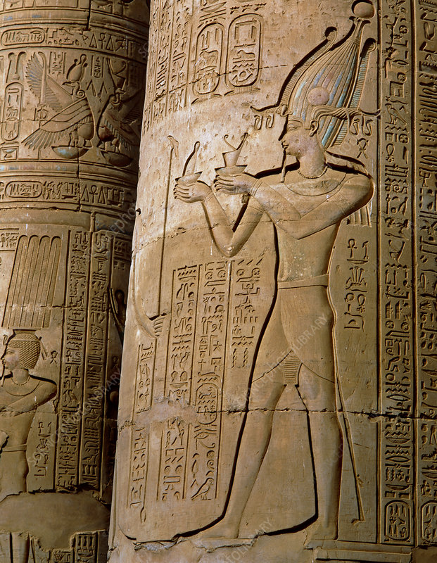 Carved pillars of the Temple of Kom Ombo, Egypt