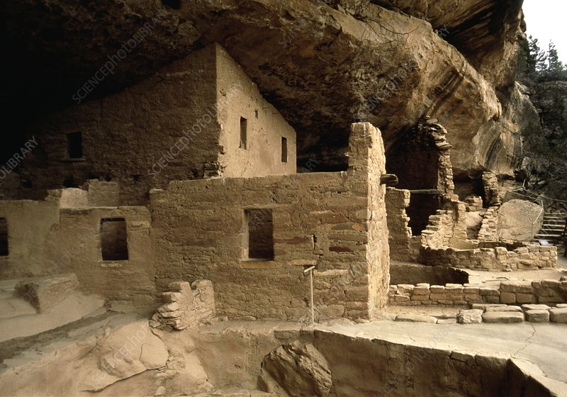 Ancient Indian dwellings built into a cliff
