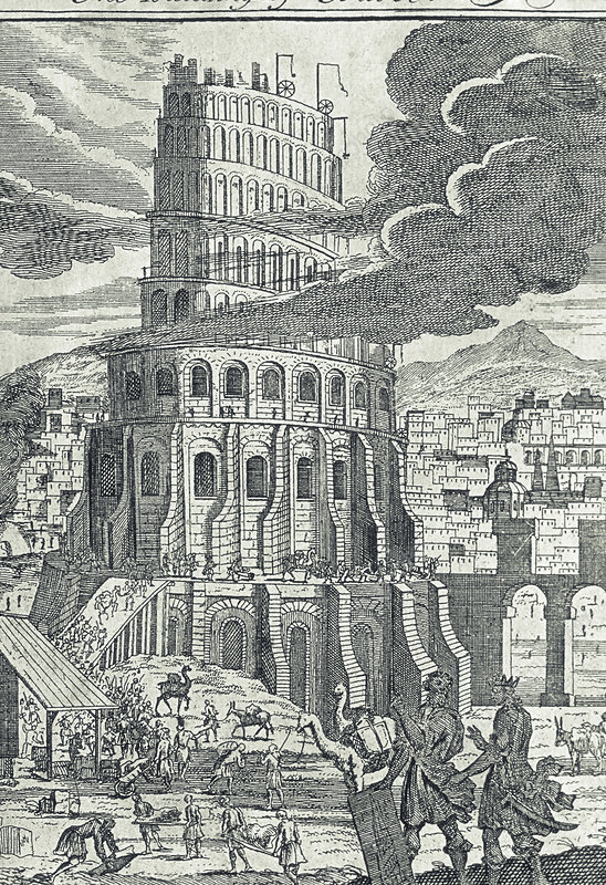 Engraving of the legendary tower of Babel