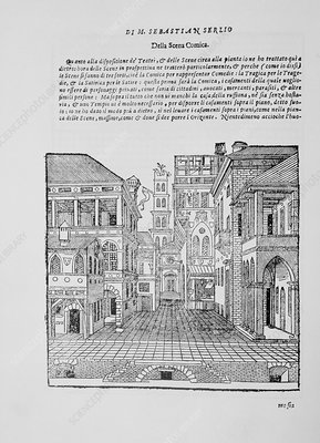 Book illustration of a Renaissance theatre stage