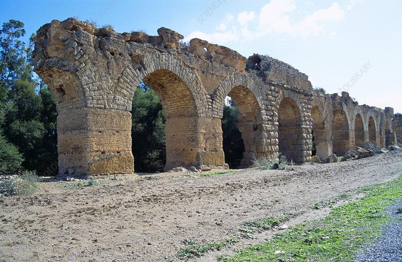 Roman aqueduct, Oudna, Tunisia
