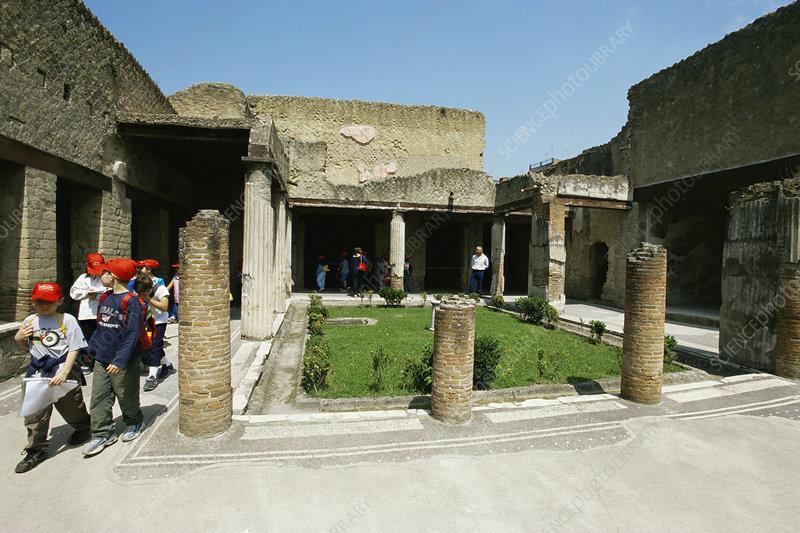 Schoolchildren visiting Roman arcades