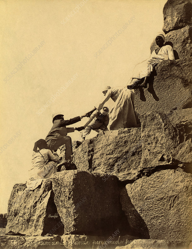 Tourist on the Great Pyramid, Egypt