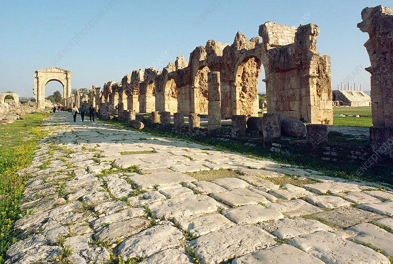 'Roman road at Tyre-Sour, Lebanon'